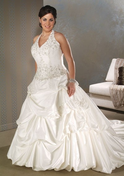 Taffeta Ball Gown V Neck Halter Plus Size