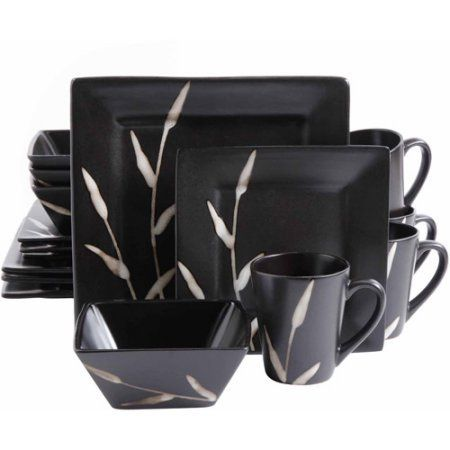 Square Stoneware Dinnerware 16 Tableware Dining Mixed Black Set.Guests will rave about your table setting when they see the Square Stoneware Dinnerware 16 Tableware Dining Mixed Black Set.Finished in black, this ceramic service for four includes plates, dessert saucers, bowls and mugs. Update your dinnerware with this square-edged contemporary set.This black dinnerware set is bound to elicit praise from visitors. It is ideal for newlyweds, families, college students or singles.