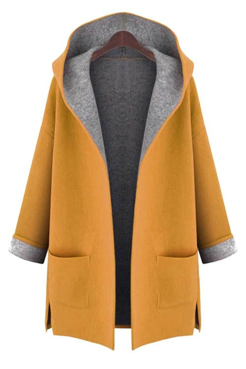 Hooded Long Sleeve Two Pockets Coat
