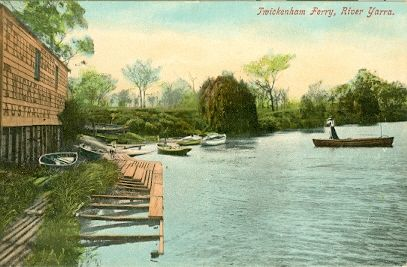 PH 23040. Twickenham Ferry, River Yarra. Colour photograph showing the boat shed on the north side of the river, and boat mooring area. The ferry service was replaced by the Grange Road bridge, c.1900.
