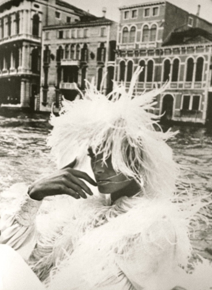Helmut Newton 1966 -- ostrich feathers on a scarf in white Giselle crepe from Lida Ascher Boutique.
