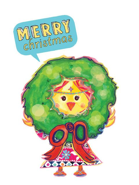 Merry Christmas Postcard with Hippie Chick and by PulikiAndFriends, $2.50