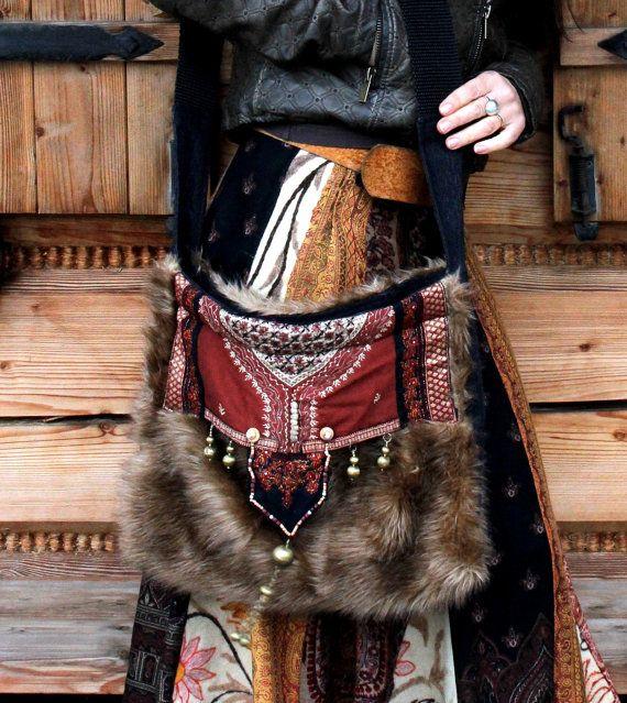 Crazy fantasy fur hippie bag recycled ethnic hippie by jamfashion, $68.00