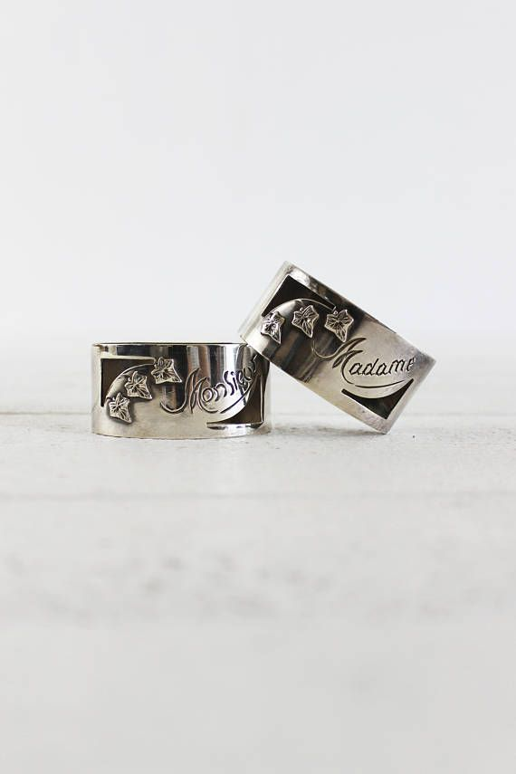 Mr And Mrs Gifts, Vintage Napkin Rings, Wedding Napkin Rings, Vintage Silver Napkin Rings, Antique Napkin Rings, Vintage Napkin Bands // This set of 2 vintage napkin rings would be the perfect wedding gift. They are silver napkin rings, and features a cut out and grapevine leaf decor. It reads Monsieur (Mister) and (Madame). They have a very charming shape and design, and the see-through on the napkin underneath is just lovely with the cut out design! A great gift for the future Mr and Mrs…
