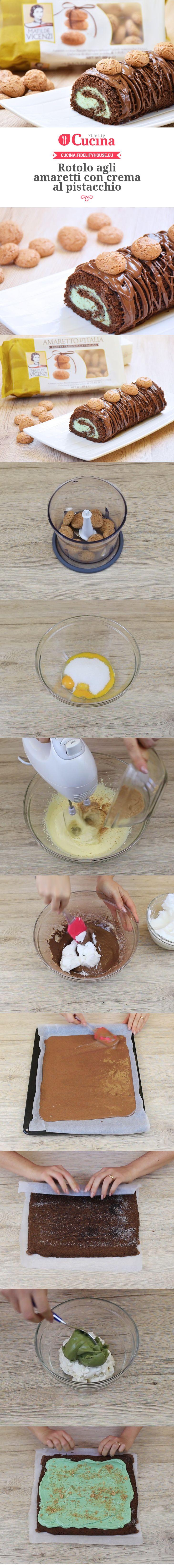 Rotolo agli amaretti con crema al pistacchio