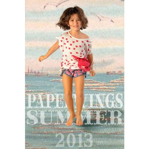 Paper Wings heart short in blue marle