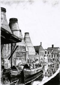 Limited Edition Drawing by Mervyn Edwards of Middleport Pottery on The Trent and Mersey Canal. Available to order at Barewall.co.uk £65
