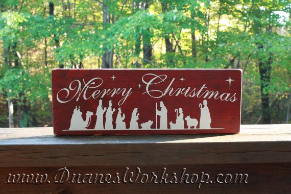 Nativity Scene Merry Christmas wooden sign by DuanesWorkshop