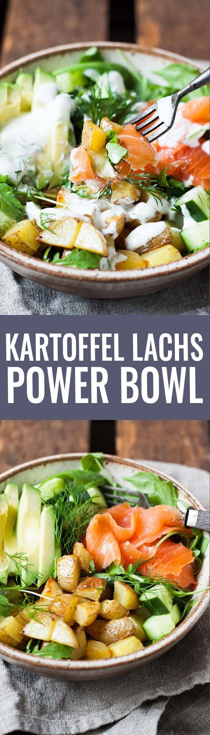Kartoffel Lachs Power Bowl mit Avocado. Super beliebt und immer wieder gut - Kochkarussell.com