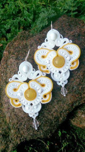 Niepowtarzalna nietuzinkowa biżuteria sutasz-moje życie moja miłość: ślubne kolczyki sutasz soutache
