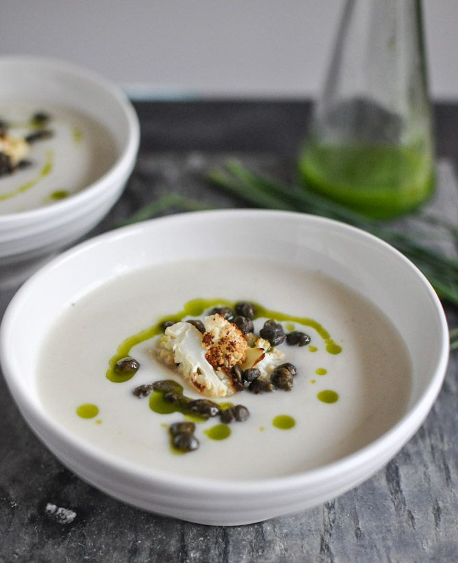 Creamy Cauliflower Soup with Crispy Capers and Chive Oil ...