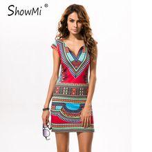 ShowMi Women Summer Dress Casual 2017 Short V-neck Ladies Sexy African Dresses Dashiki Traditional Print Mini Womens Beach Dress