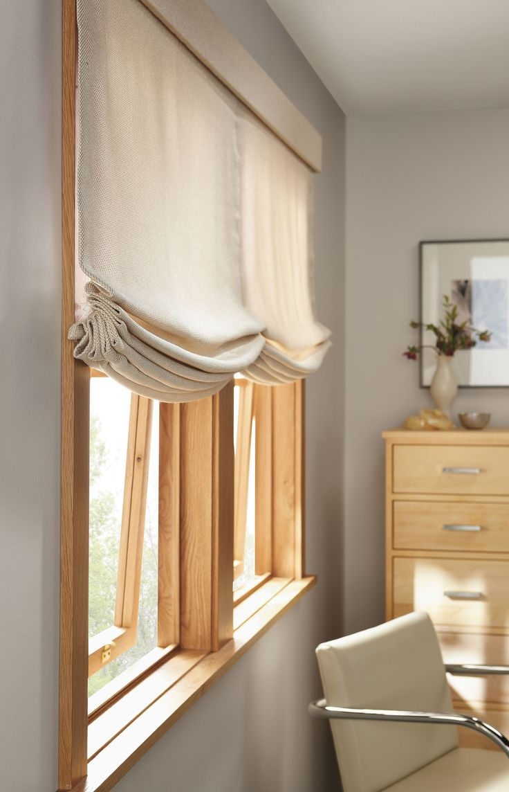 Relaxed roman shades on wide window shades pinterest for Roman shades for wide windows