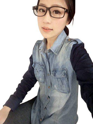 Amazon.co.jp: (フルールドリス)Fluer de lis デニム デニムシャツ ブルー バイカラー 切替 シャツ ワイシャツ Yシャツ ドレスシャツ カジュアル アパレル レディース ファッション 服 6266: 服&ファッション小物