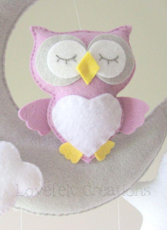 Baby mobile Owl mobile Crib Mobile Owl Baby por LoveFeltXoXo