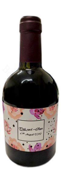 Vino rosso toscano con etichetta soggetto fiori personalizzata