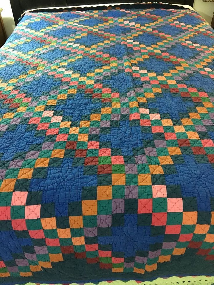 Vintage Amish Style Double Irish Chain Quilt W Saw Tooth