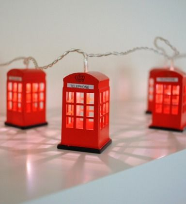 Celebrate the Queen's Diamond Jubilee with London telephone box string lights.  OMG!! I have to have these!