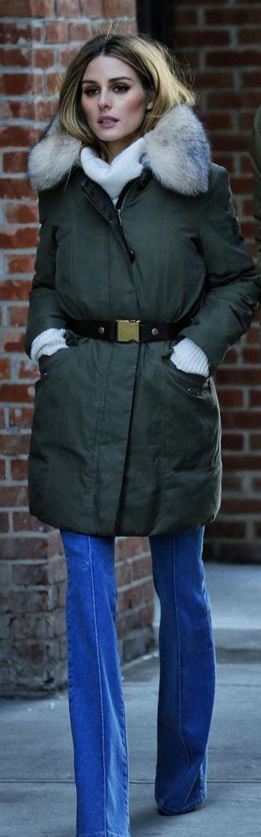 Who made Olivia Palermo's green coat?