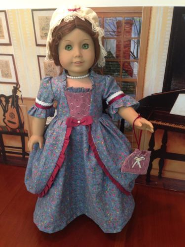 """Fits American Girl 18"""" doll clothes - Felicity -  Historical 1700's 18th Century Colonial dress with Peplum and Round Eared Cap"""
