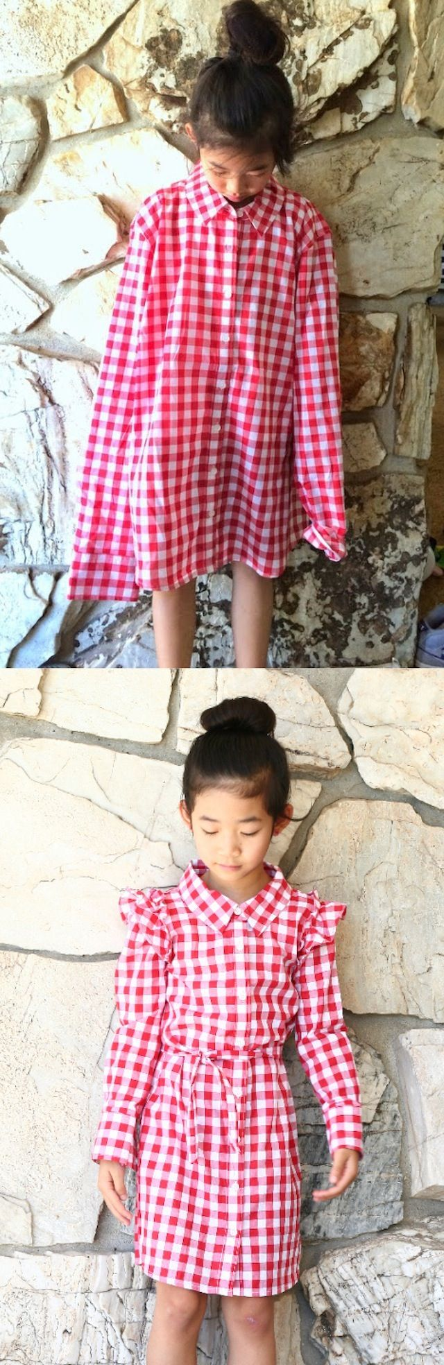 A simple and kid-friendly tutorial on how to turn an XL woman's shirt into a girl's dress by Life is Beautiful