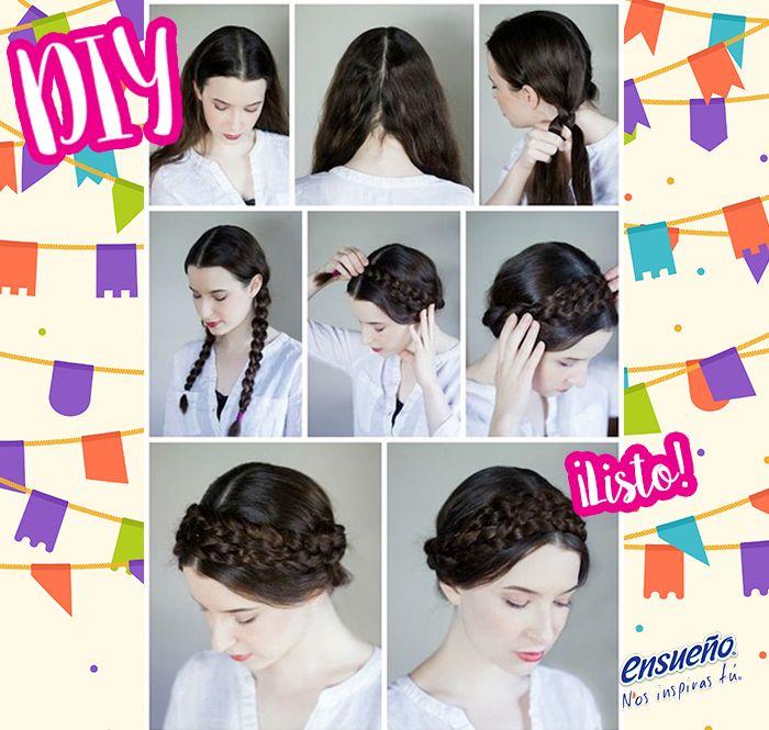 Luce hermosa con un peinado 'ad hoc' a estas fechas patrias. #Ensueño #look #peinado #trenza #DIY #moda