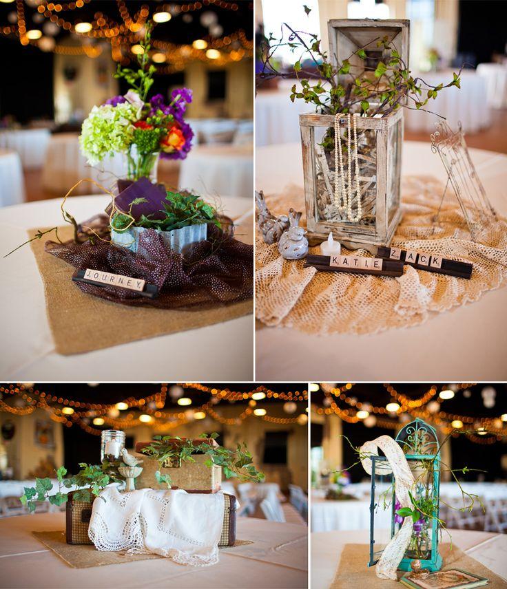 Wedding Table Centerpieces Using Vintage Decor, Burlap