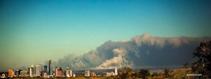 Austin Tx skyline with Bastrop fire in background... My hometown.  Sept 2011