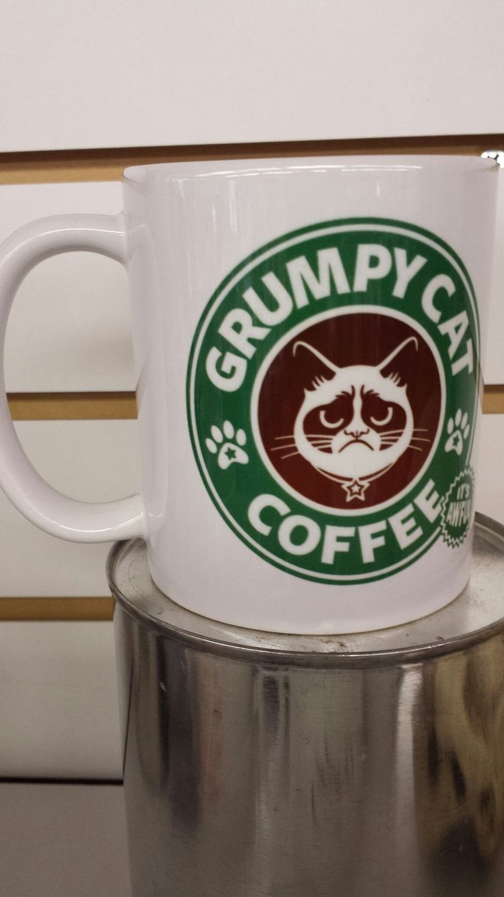 This is classic Grumpy Cat. Wanna be Starbucks....but not!!! Grumpy Cat just makes people happy....not sure how that works, but it does!