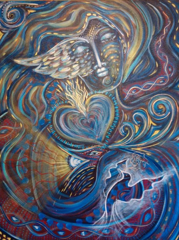 """""""Keeper of the Flaming Pearl"""". Painted using Intentional Creativity Method - Acrylic on canvas ART of Sisterhood"""