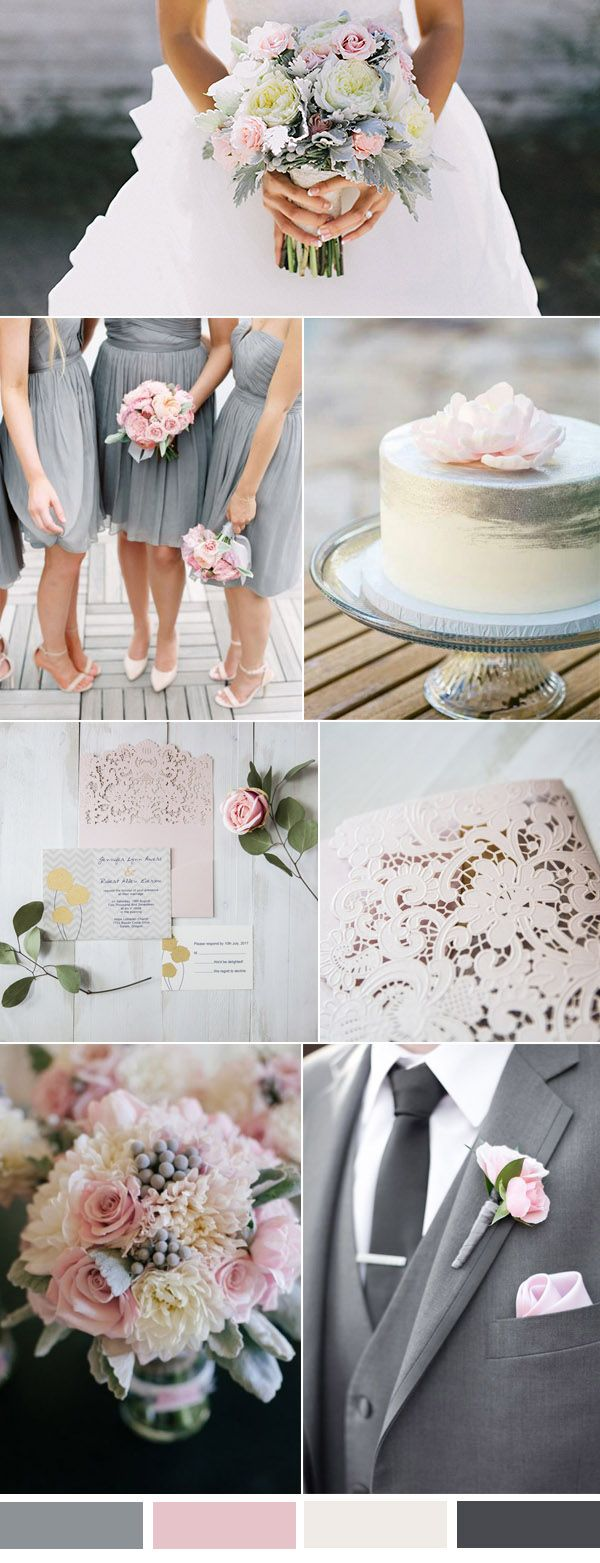 pastel pink and grey wedding color inspiration