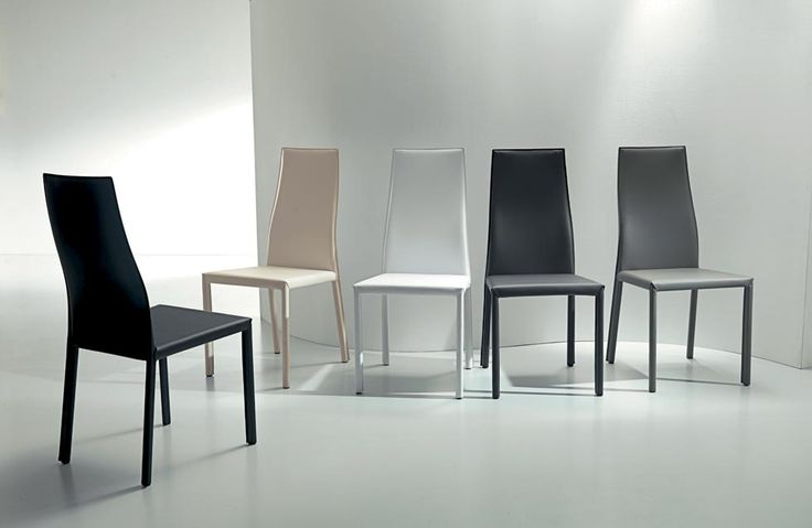 WAVE. Refined neutral tones and solid thickness of leather contribute to a great appeal chair. Metal frame chair, eco-leather covering, leather colour stiching. http://www.easy-line.it