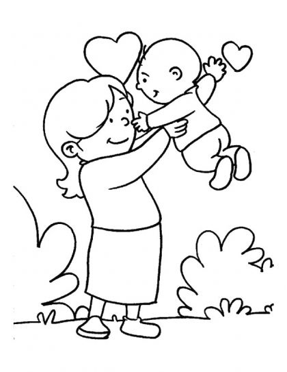 In the loving care of her Mom coloring page | Download Free In the loving care of her Mom coloring page for kids | Best Coloring Pages