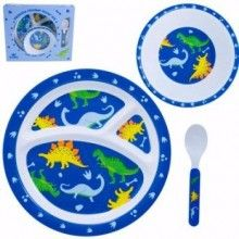Your little boy will love his meal time with this adorable 3 pce dinner set.  Features:  1 x meal tray, 1 x bowl and 1 x spoon  Vibrant fun design  Made from sturdy melamine  Packaged in a beautiful gift box making it a great Christening or 1st Birthday gift