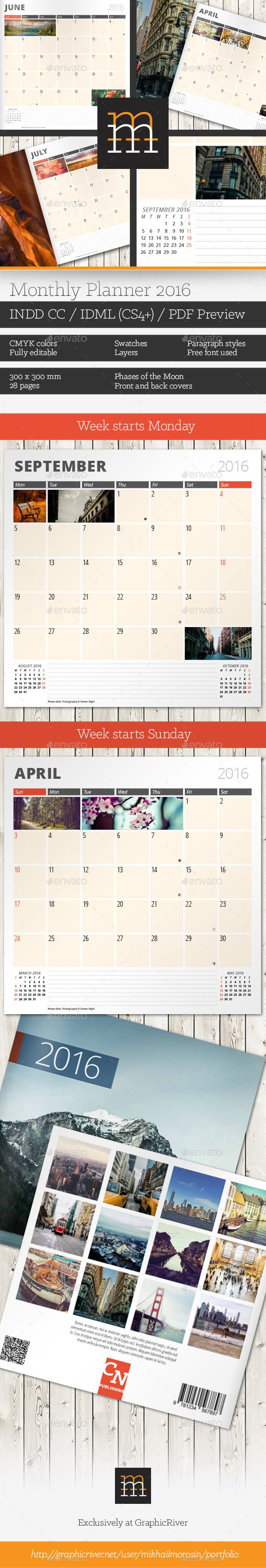 Monthly Planner 2016 - Calendars Stationery