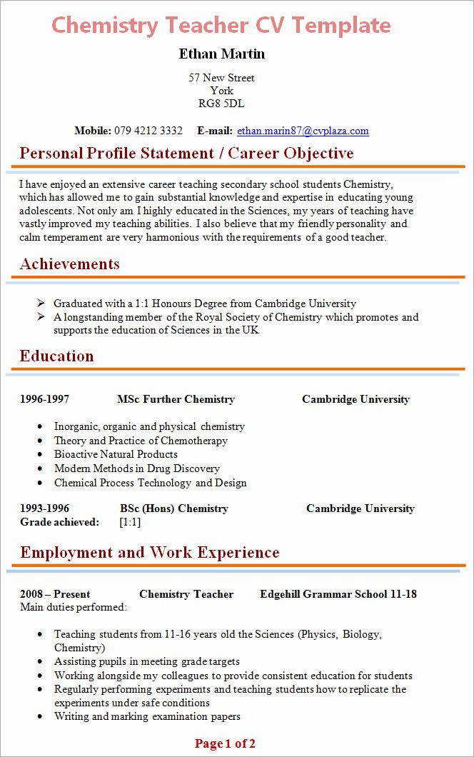 40 Free Teacher Resume Templates In 2020 Teacher Resume Template