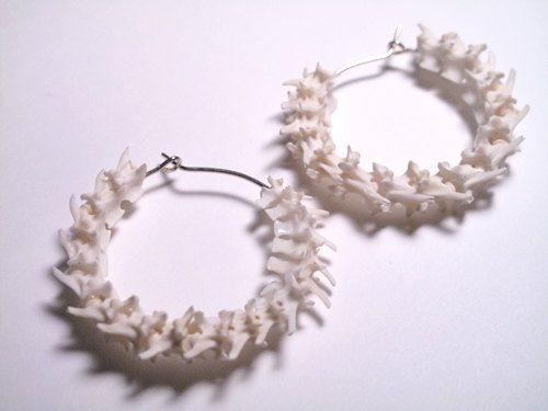 Snake Earrings Animal Bone Earrings Snake Vertebrae Hoops Taxidermy Jewelry. $49.99, via Etsy.