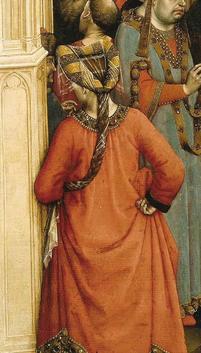 Back view of a heart shaped padded roll. Hair is braided and covered with a veil. Robert Campin, The Berothal of the Virgin (detail), ca. 1420. Museo del Prado, Madrid.