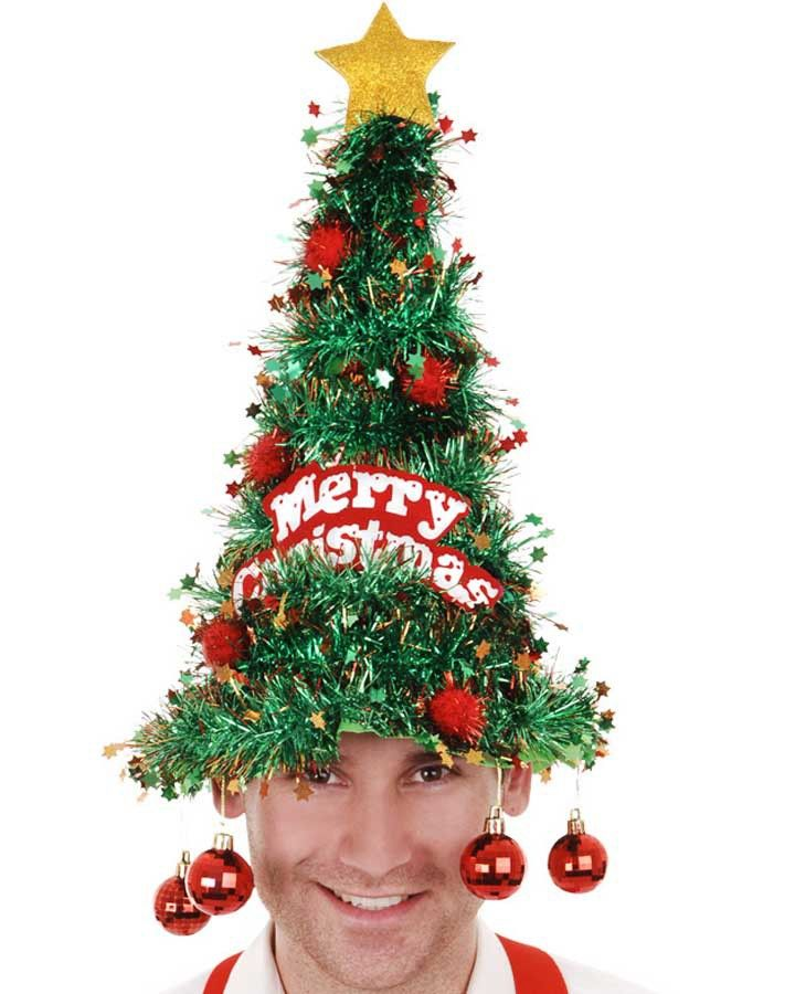 Tinsel Christmas Tree Hat with Baubles #Christmas