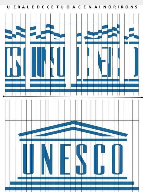 Acertijo de la UNESCO.Cada columna tiene una letra asignada según la primera imagen y debes ordenarlas para conseguir el logotipo de la UNESCO.  ¿Qué frase se forma?