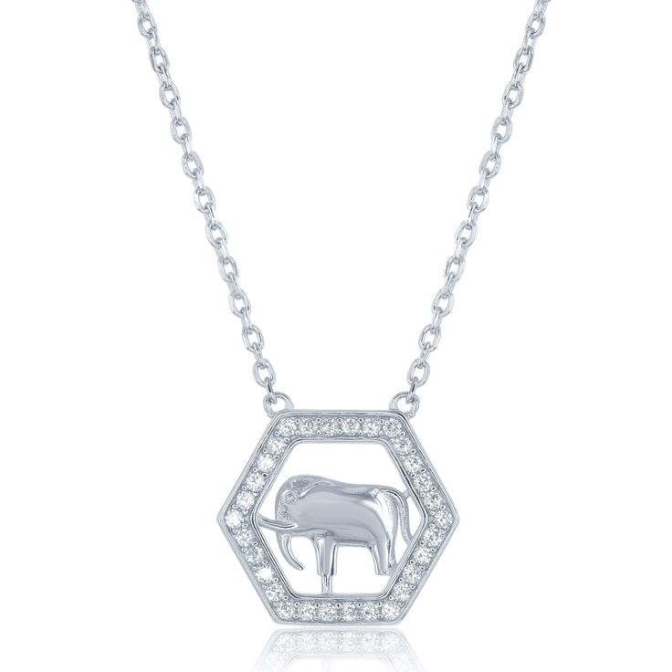 La Preciosa Sterling Silver Cubic Zirconia Open Hexagon with Elephant Necklace, Women's, Size: 18 Inch, White
