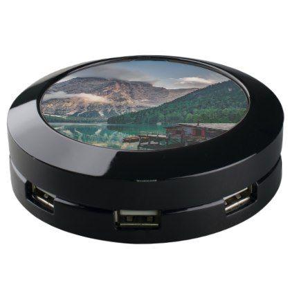 Beautiful mountain and lake landscape in Italy USB Charging Station - beauty gifts stylish beautiful cool
