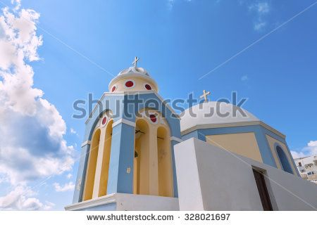 Beautiful traditional greek domed church at Firostefani.Santorinini (Thira) island.Cyclades.Greece.Europe.