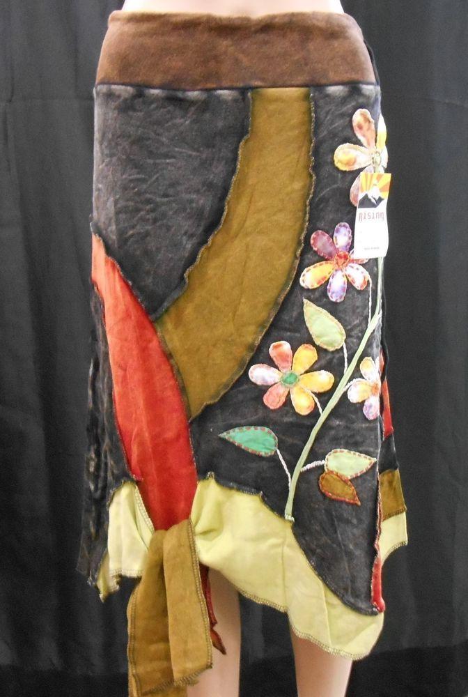 RISING INTERNATIONAL NEPAL Handmade SKIRT Multi-Color FLORAL Applique with Tie #RisingInternationalNepal #PeasantBoho