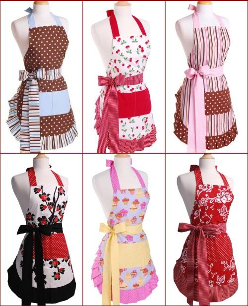 cute & flirty aprons ... LIKE Chocolate Brown with Blue and stripe
