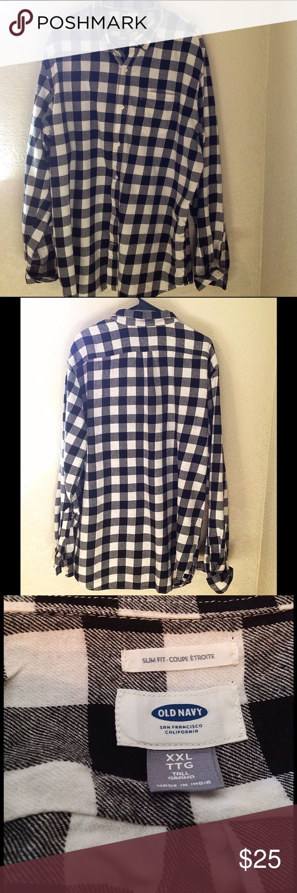 Old Navy Slim-Fit Flannel Shirt for Men NWOT Slim-Fit Flannel Shirt for Men Pointed collar Long sleeves with buttoned cuffs. Seamed back. Soft, medium-weight cotton. Size 2XL Tall Old Navy Shirts Casual Button Down Shirts