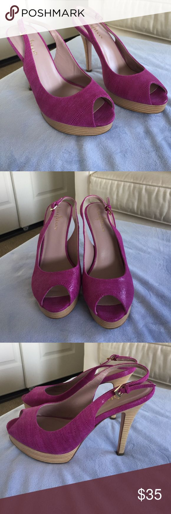 Cole Haan Nike air pink patent leather slug back 8 Cole Hana Nike air pick patent leather slit backs size 8 EUC any wear and tear is pictured Cole Haan Shoes Heels