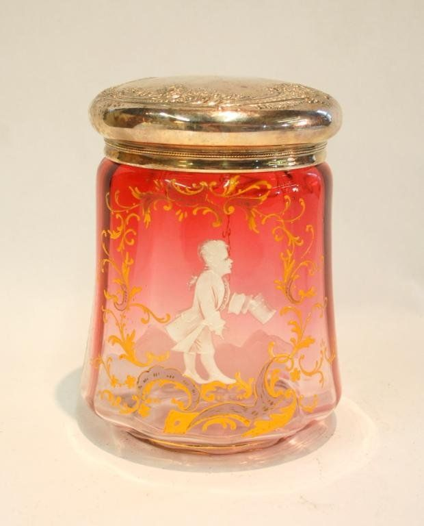 343: Mary Gregory Cranberry Glass Biscuit Jar : Lot 343