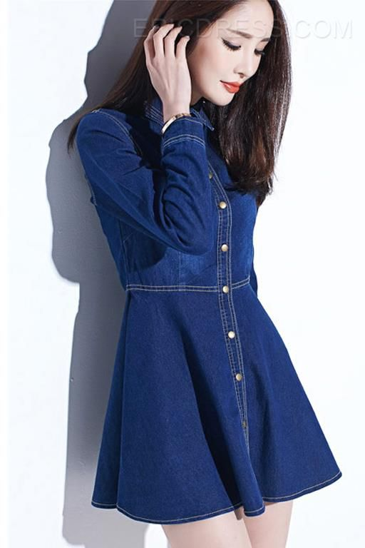 Ericdress Sweet Denim Vintage Dress Casual Dresses