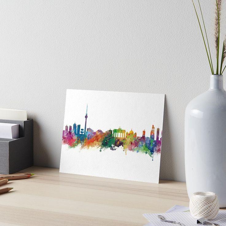 Berlin   #berlin #skyline #landscape #cityscape #art #board #print #home #office #desk #decor #gift #ideas #travel #colorful #europe #deutschland #germany #german #city #architecture #tower #abstract #watercolor #minimalist